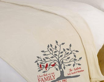 I love that we are family / Personalized Blanket / Personalized Throw Blanket / Family Tree Throw Blanket / Bridal Shower Gift / Christmas