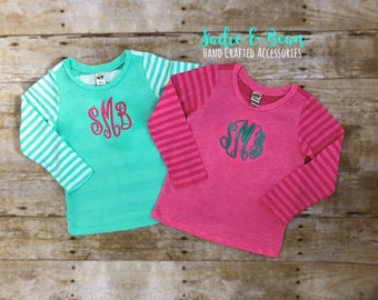 Monogrammed girls shirt, personalized shirt, girls, toddler girl, toddler, monogrammed, striped, monogrammed long sleeve, monogrammed outfit