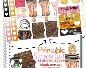 Planner Girl Printable Stickers, Louis Vuitton Planner Stickers, Stylish Planner Fashion Girl Planner Sticker, Glam Planner, To Do List