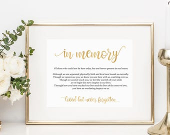 Gold In Memory Sign - In Loving Memory Sign, Memory Sign, Gold Wedding Sign, Wedding Printable - Downloadable wedding #WDH812324