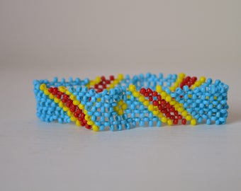 Congo Flag Bracelet | Maasai beaded bracelets | Flag of Congo | wrist band.