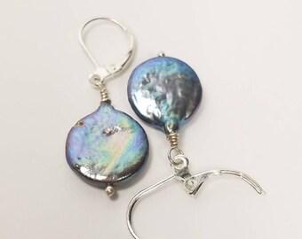 Grey Pearl Earrings, Grey Pearl Drop Earrings, Pearl Drop Earrings, Black Pearl Dangle Earrings, Silver Drop Pearl Earrings, Silver Pearl