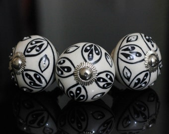 Black white Ceramic knob poignées de meubles Cabinet Möbelknopf Dresser Keramik knöpfe drawer Bouton Perillas -Price is for 1 knob (OHK0148)