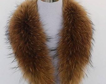 80cm Large True 100% Raccoon Fur Collar Real Genuine Shawl Wrap Great