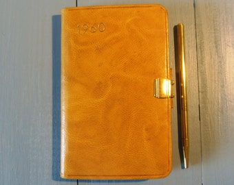 """Vintage French Leather Pocket Diary 1960 with Pencil Promoting """"Credit Lyonnais"""""""