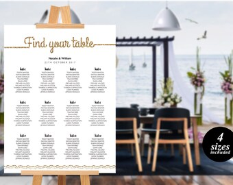 Simple Wedding Seating Chart Template printable seating chart Seating Chart Template Find your seat sign Simple Seating Chart  gold