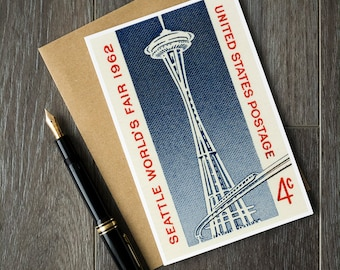 seattle space needle cards, space needle birthday cards, seattle world's fair postcards, vintage seattle, space art, space needle seattle