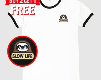 Sloth Slow Life Embroidered Ringer T-Shirt by 24PlanetsStudio