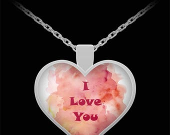I Love You Watercolor Heart Necklace Gift Jewelry Valentine Birthday Marry Me Bridal Wedding Anniversary Present