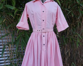 True Vintage Murray Millman California 1950s or early 1960s Pink and Black Shirtdress Cotton Dress Small or X-Small