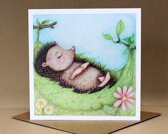 Hammock Hedgehog Card