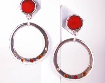 Rich Red Enamelled Earrings, Sterling Silver