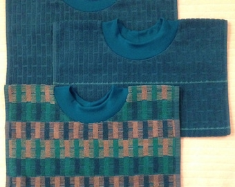 NEW: Adult Towel Bib - Turquoises & Blues - Brick Terrycloth PULLOVER Bib - Acid Reflux - Special Needs - Fastener-Free Bib - Big Kid Bib