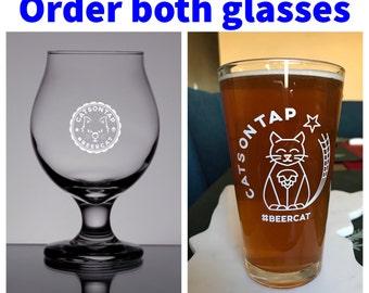 Order the CatsOnTap #BeerCat Belgian & Pint glass duo
