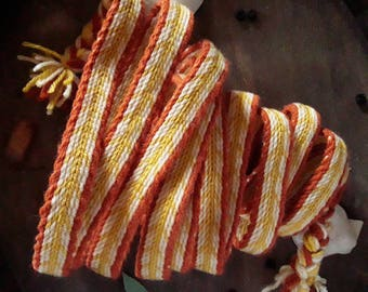 Women medieval belt, tablet woven string, card weaving braid, decorative hem dress, wool belt orange yellow lenght 3 mt, viking reenactment