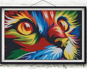 Cross stitch pattern scheme pop art rainbow cat