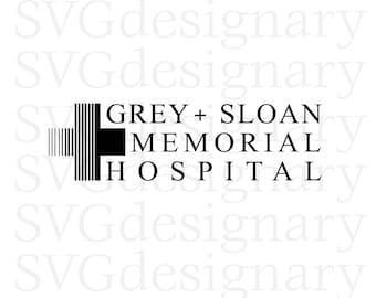 Grey's Anatomy TV Show- Grey Sloan Memorial Hospital Black & White SVG PNG Download