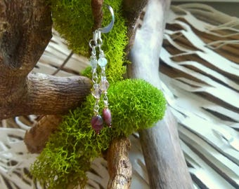 African Pink Tourmaline Drop Earrings
