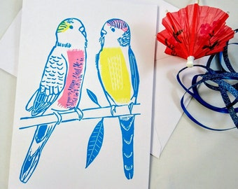 Budgie Linocut Card - Budgerigar Couple Love Birds Linoprint - Birthday Card, Wedding or Engagement Card, Anniversary Card, Valentines Card