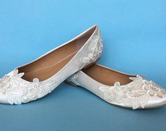 Bridal ballet flats, Lace bridal shoes for bride Bridal flats shoes for bride wedding shoes Custom wedding flats Custom bridal flats