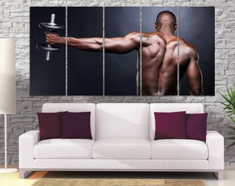 Motivational Poster, Bodybuilding Wall Art, Weightlifting Man, Boxer Training Canvas Print, Gym Wall Decor, Dark Home Decor, Home Gym LC087