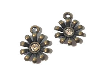 4 or 20 BULK Flower Charms | Bronze Flower Charm | Rhinestone Flower Charm | Rhinestone Center | Cute Flower | Ready to Ship USA | BR212