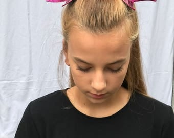 Pink Cheer Bow With Silver and Black Rhinestone Tips