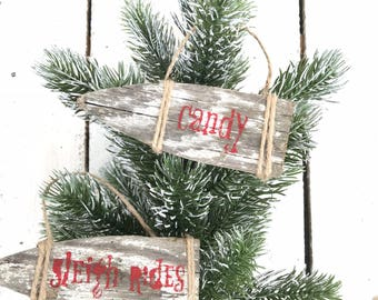 Christmas ornaments, reclaimed wood ornaments, chippy wood ornaments