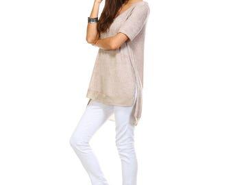 Women's Tan Side Slit V Neck Tunic, Contrast, Size S M L XL