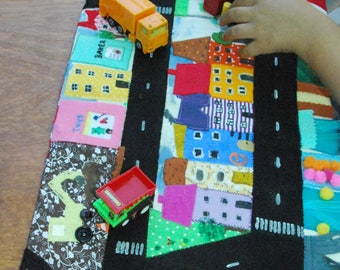 Town - Car play mat, roll up quiet play mat, quiet book, imaginative play, pretend play mat