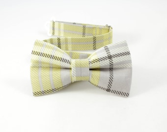 Yellow and Gray plaid bow tie, Easter bowtie, Spring and Summer plaid bowtie, baby toddler boy bowties, baby cotton bow tie,citrus bowtie