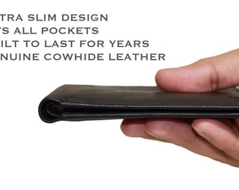Men's Leather Wallet RFID Blocking Wallet for Men Slim Wallet Bifold Wallet Handmade Wallet Secure Credit Card From Identity Theft