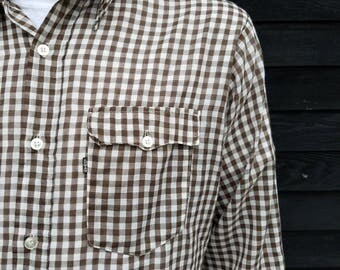 Vintage Levi's Gingham Shirt | Collared Button Down Top | Lightweight | Western Wear | Brown and White Gingham | Size Large