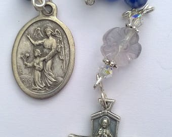 Catholic Single Decade Rosary Beads with Guardian Angel Medal, 4 Way Cross, Sodalite Beads and Rainbow Fluorite Flower. Prayer Beads
