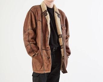 Vintage Brown Fur Leather Coat