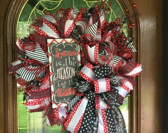 Christmas Holiday Religious Christian Deco Mesh Wreath for Front Door