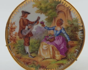 Small Les Belles De Limoges French Porcelain Decorative Plate | Transferware Plate Depicting Lovers as Painted by Jean-Honoré Fragonard