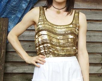Gold Boho Sequin Vest