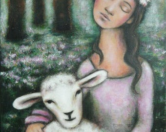 "Painting ""The Queen and the sheep"" young woman flower Crown with sheep"