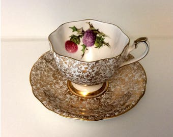 Windsor Bone China hand-painted Thistle with Gold Floral Chintz Tea Cup and Saucer