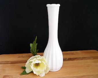 Vintage CLG Co Fluted Milk Glass Tall Vase