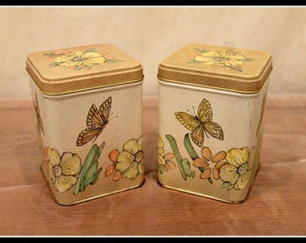 Set Of Two Retro Spring Butterfly And Flower Tins Vintage Metal Tins Kitchen Decor