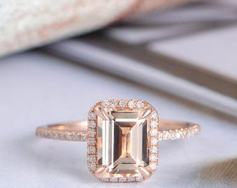 Rose Gold Emerald Cut Morganite Engagement Ring Diamond Halo Half Eternity Band Unique Promise Women Bridal Set Anniversary Gift For Her