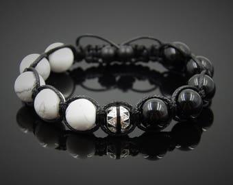 Energy bracelet Balance bracelet Zen bracelet Black and white bracelet Wrist mala Cubic zirconia Black onyx bracelet Howlite bracelet