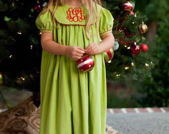 Christmas Green Dress; Green Christmas Dress; Christmas Dress; Photo with Santa; Girls Christmas Dress; Green Girls Dress; Monogrammed Dress