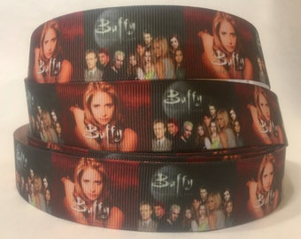 "1/3/5/10 Yards - 1"" Buffy The Vampire Slayer print Grosgrain Ribbon"