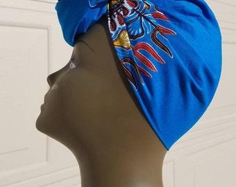 Blue & Brown Dashiki Headwrap;Black African Headwrap; African Clothing; African Fabric Headwrap; African Scarf;  Headwrap:Headwrap; Head tie