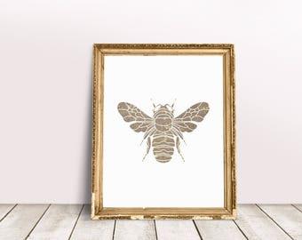 SALE - Marble Effect Bee Print, Wall Art, Bee Print, Insect Print, Marble Look Print, Printable Print