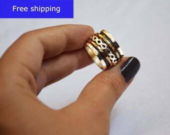 925 Sterling silver ring,Spinner meditation rings for women,Hammered ring, spinner rings,wide ring,spinning,infinity ring