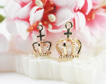 11x15mm (big)/9x12mm(small) 14k Gold plated crown pendant charm